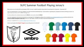 SUFC Summer Football Playing Jersey's